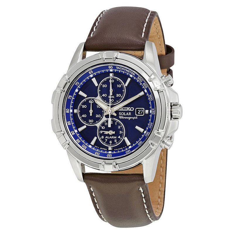 Seiko Core Solar Chronograph Quartz Stainless Steel and Leather Dress Men's Watch SSC455