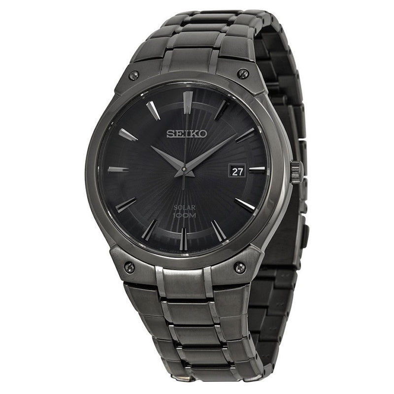 Seiko Core Dress Solar Black Stainless Steel Men's Watch SNE325