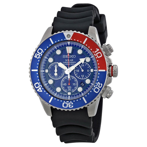 Seiko Prospex Stainless Steel Solar Dive Men's Watch SSC031 with black silicone band