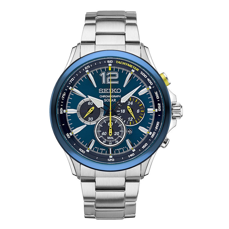 Seiko Core Solar Chronograph Special Edition Men's Watch SSC505 with metal band