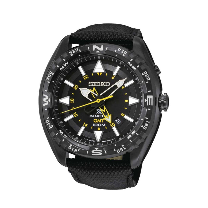 Seiko Prospex Stainless Steel Quartz Men's Watch with Black Dial SUN057 with black silicone band