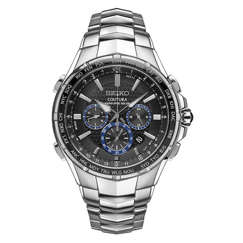 Seiko Coutura Radio Sync Solar Chronograph Stainless Steel Mens Watch SSG009