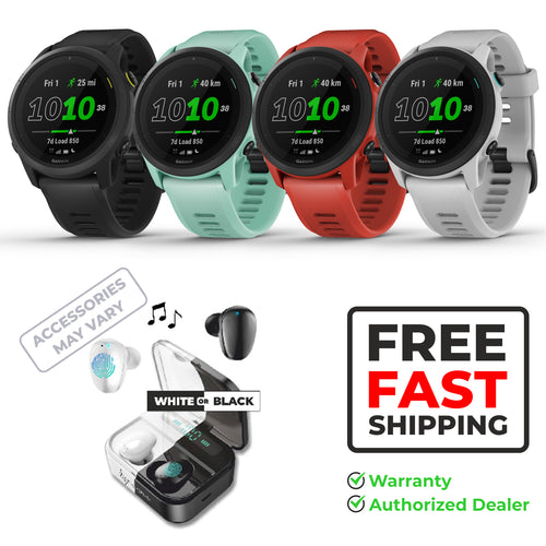 Garmin Forerunner 745, GPS Running Watch with Wearable4U EarBuds with Charging Power Bank Case Bundle