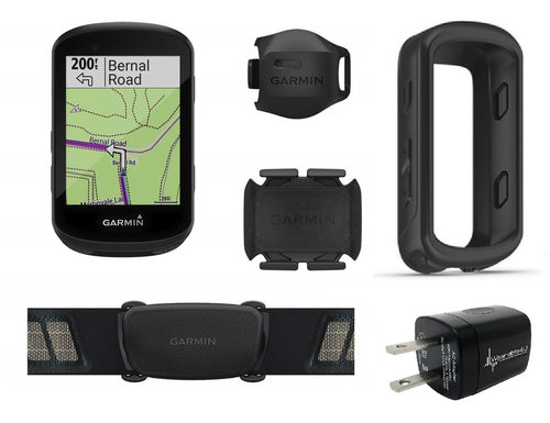 Garmin Edge 530 GPS Cycling Computer with Included HRM Original Garmin Silicone Case Wearable4U Wall Charging Adapter Bundle