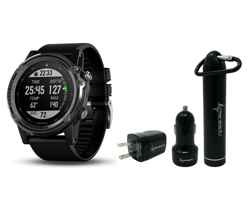 Garmin Descent MK1 with Wearable4U Ultimate Power Bundle (Silver with Black Band)