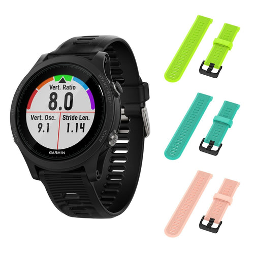 Garmin Forerunner 945 GPS Running Smartwatch with Included Wearable4U 3 Straps (Lime/Teal/Pink)
