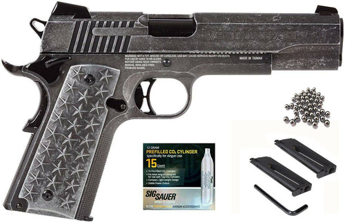 Sig Sauer 1911 BB Air Pistol We The People 4.5mm with Magazine 1911 WTP and 15x12 gr C02 tanks Bundle
