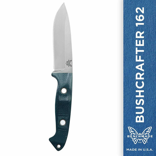 Benchmade Bushcrafter 162 Fixed Outdoor Survival Knife, Green & Red Made in USA