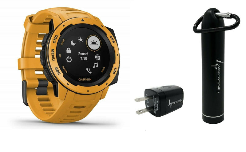 Garmin Instinct, Rugged Outdoor Watch with GPS, Features GLONASS and Galileo, Heart Rate Monitoring W Wearable4U Power