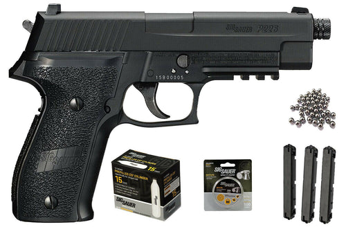 Sig Sauer P226 Airgun .177 cal BLK with 2 extra Magazines and 15x12 gr C02 tanks and 500 Match Lead Pellets Bundle