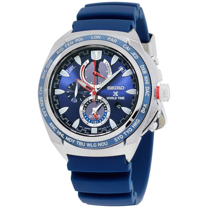 Seiko Prospex World Time Solar Chronograph Blue Rubber Strap Men's Watch SSC489