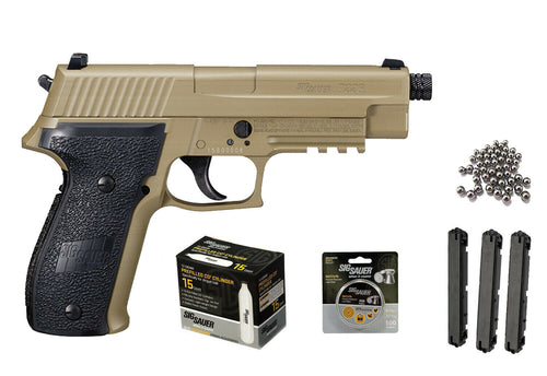 Sig Sauer P226 Airgun .177 Cal FDE with 2 extra Magazines 15x12gr C02 tanks and 500 Match Lead Pellets Bundle