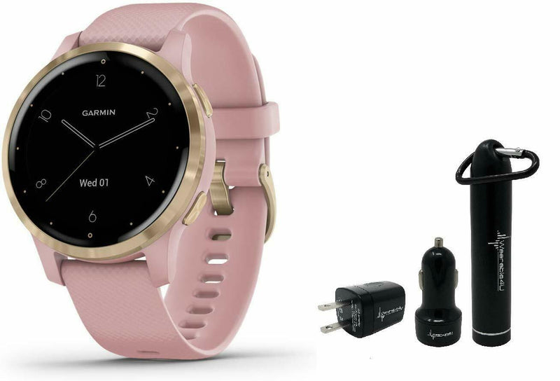 Garmin  Vivoactive 4S GPS Smartwatch and Wearable4U Power Pack Bundle (Dust Rose/Light Gold)