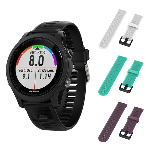 Garmin Forerunner 945 GPS Running Smartwatch with Included Wearable4U 3 Straps (White/Teal/Purple)