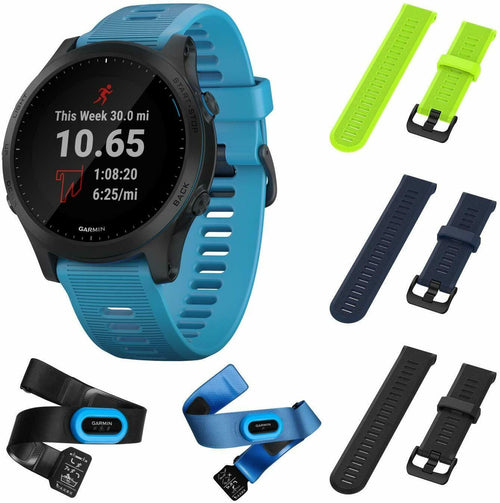 Garmin Forerunner 945 Lime/NavyBlue/Black GPS Running Smartwatch with Included Wearable4U 3 Straps