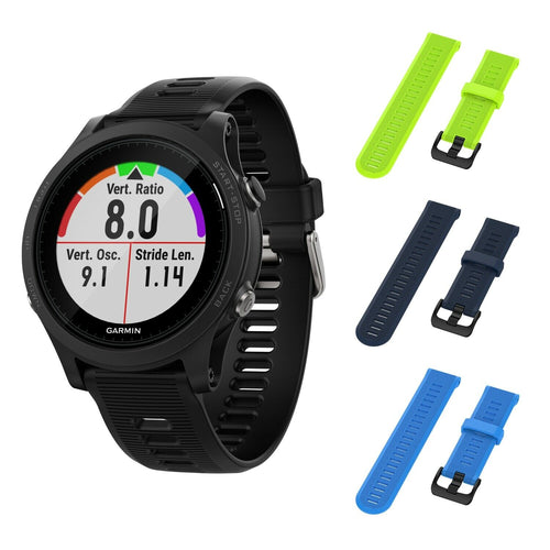 Garmin Forerunner 945 GPS Running Smartwatch with Included Wearable4U 3 Straps (Lime/NavyBlue/SkyBlue)