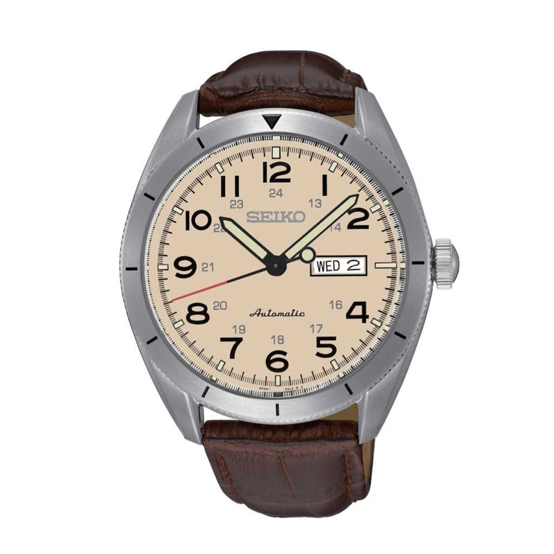 Seiko Core Beige Dial Automatic Men's Watch SRP713 with leather band
