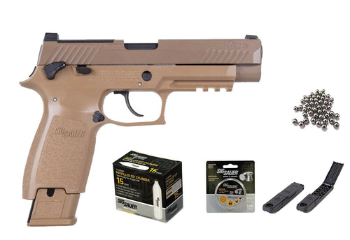 Sig Sauer M17 P320 ASP Airgun Pistol .177 cal COYOTE TAN with 15x12 gr C02 tanks and 2 Rotary Belts and 500 Match Lead Pellets Bundle