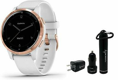 Garmin Vivoactive 4S White Rose GPS Smartwatch and Wearable4U Power Pack Bundle