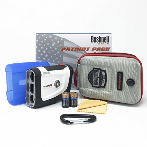 Bushnell Tour V4 Patriot Pack Laser Golf Rangefinder 201660P Bundle with Carrying Case, Carabiner, Lens Cloth, and Two (2) CR2 Batteries