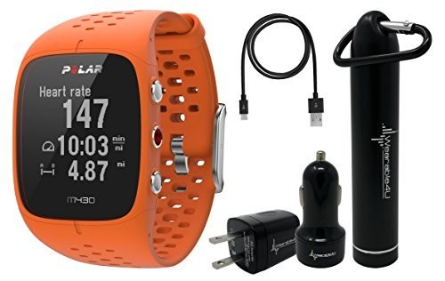Polar M430 Advanced Running GPS Watch with Wrist-based Heart Rate Monitor and Wearable4U Ultimate Power Pack Bundle