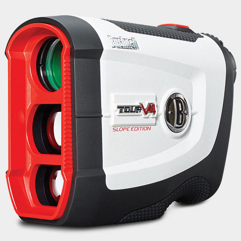Bushnell Tour V4 Shift Laser Golf Rangefinder Bundle with Carrying Case, Carabiner, Lens Cloth, and Two (2) CR2 Batteries