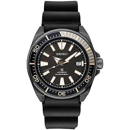 Seiko Prospex Samurai Black Ion Automatic Dive Watch with Black Silicone Strap 200 m SRPB55