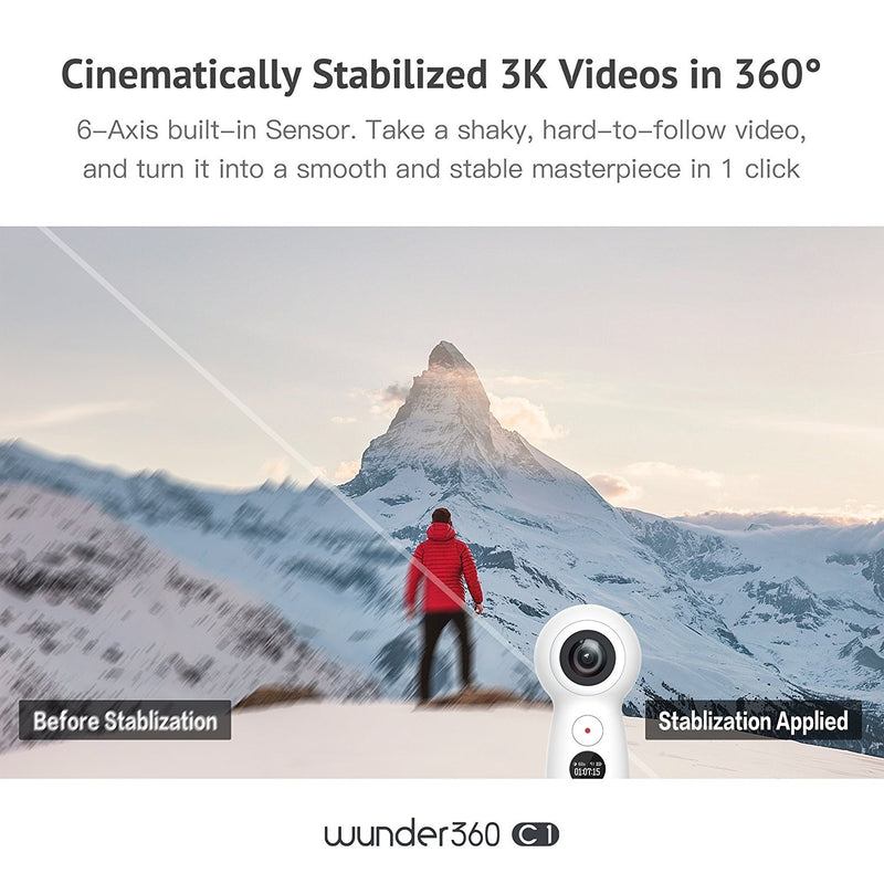 Wunder360 4K Capable Action Camera 360 VR Video Camera 360 Degree Camera Panoramic Dual-Lens High Resolution