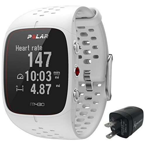 Polar M430 Advanced Running GPS Watch with Wrist-based Heart Rate Monitor and Wearable4U Wall Charging Adapter Bundle
