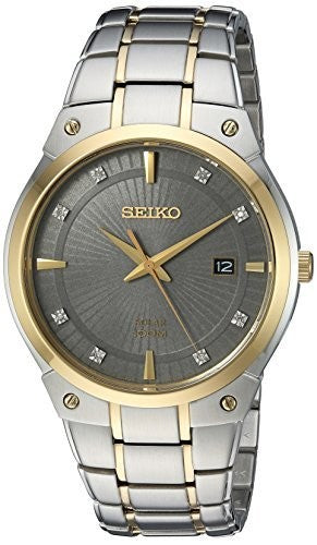 Seiko Men's Solar Two-Tone Watch With Diamond Accents