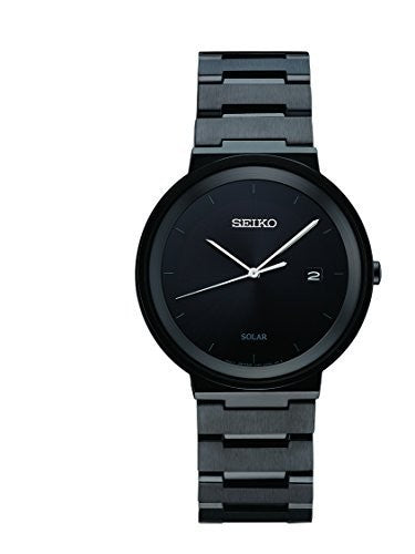 Seiko Men's ' Quartz Stainless Steel Dress Watch, Color:Black (Model: SNE481)