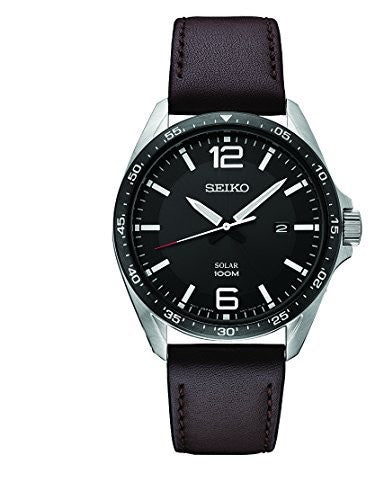 Seiko Men's 'SPORT' Quartz Stainless Steel and Leather Dress Watch, Color:Brown (Model: SNE487)