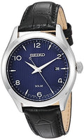 Seiko Men's ' Quartz Stainless Steel and Leather Dress Watch, Color:Black (Model: SNE491)