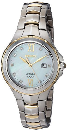 Seiko Women's Courtura Solar Two Tone Watch With Diamond Accents On Dial