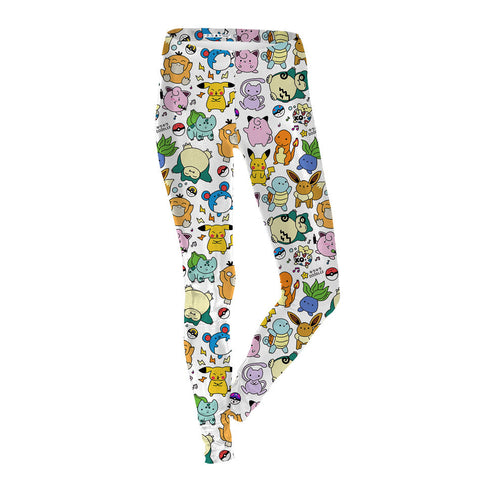 Cartoon-y Pokemon Printed Leggings