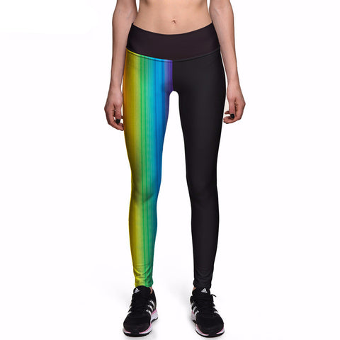 Rainbow Stripe High Waisted Leggings