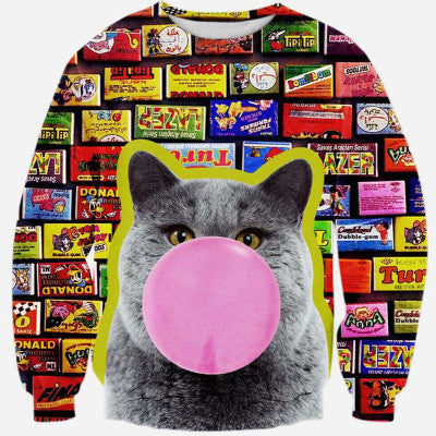 Candy Cat Printed Sweater