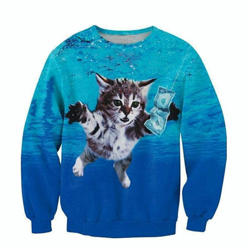Smells Like A Kitty Printed Sweater
