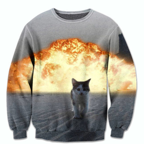 Cool Cats Don't Look At Explosions Printed Sweater