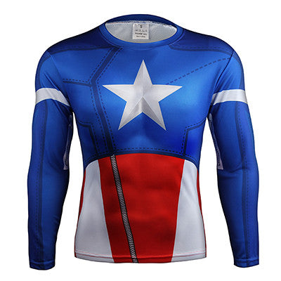 Captain America Avengers Long Sleeve Compression Shirt