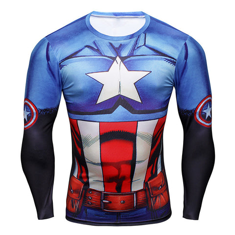 Captain America Animated Long Sleeve Compression Shirt