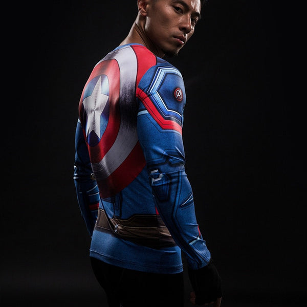 Captain America Shield Long Sleeve Compression Shirt