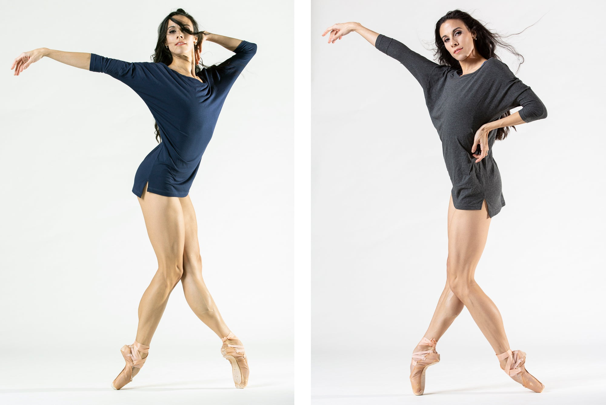 dancer on pointe wearing three quarter length sleeve workout and warmup shirt
