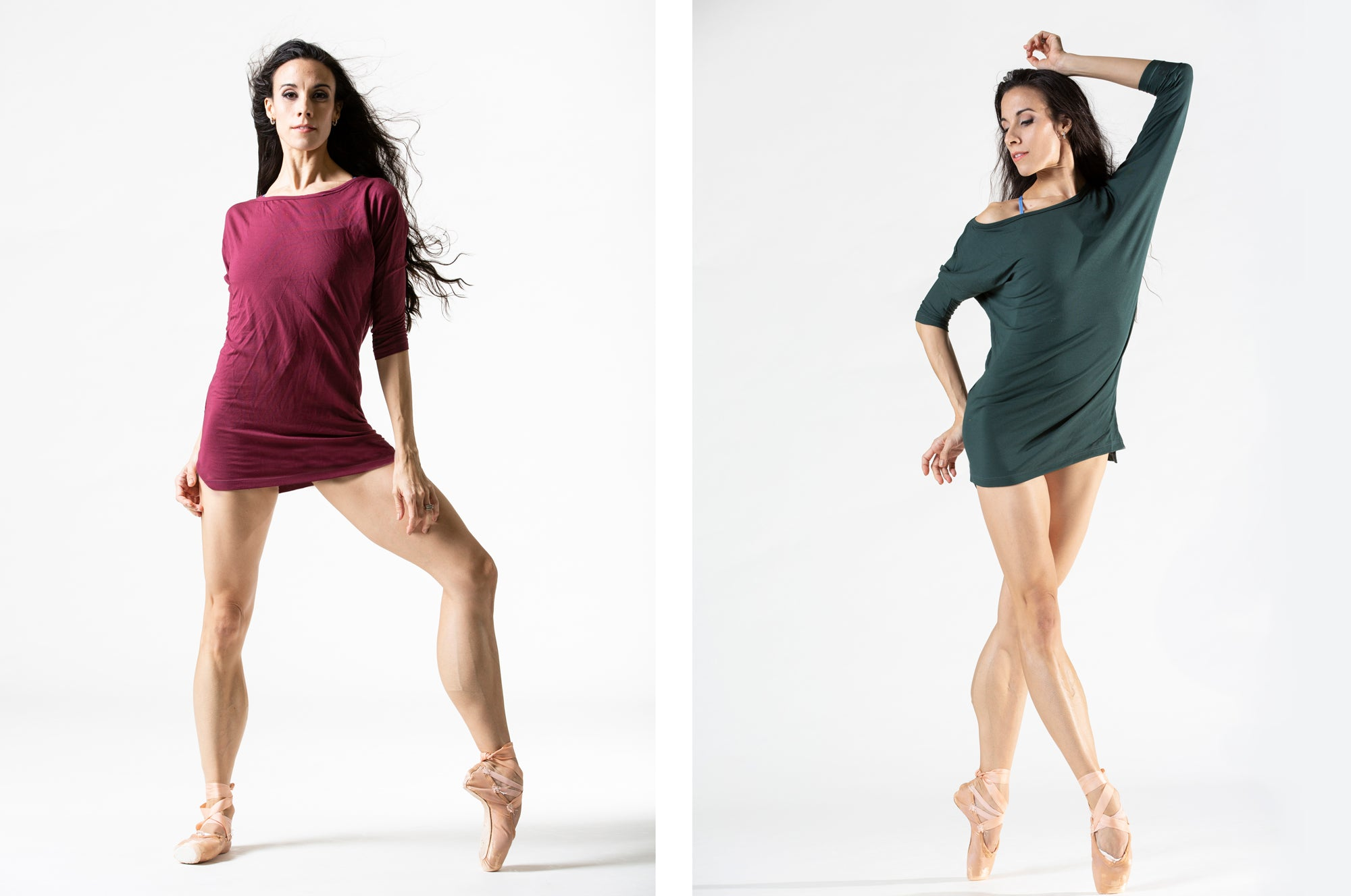 dancer wearing three quarter length sleeve workout and warmup shirt