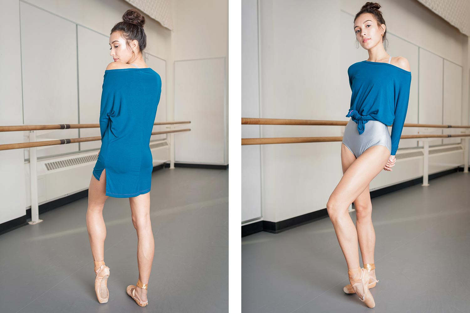 dancer on pointe wearing three quarter length sleeve workout and warmup shirt and wearing it tied up from waist