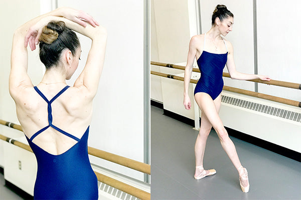 dancer wearing solid color leotard with thin straps twisted in the back