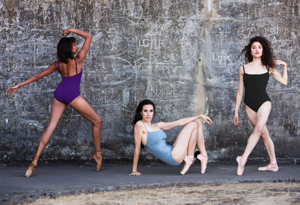 three dancers wearing camisole leotards