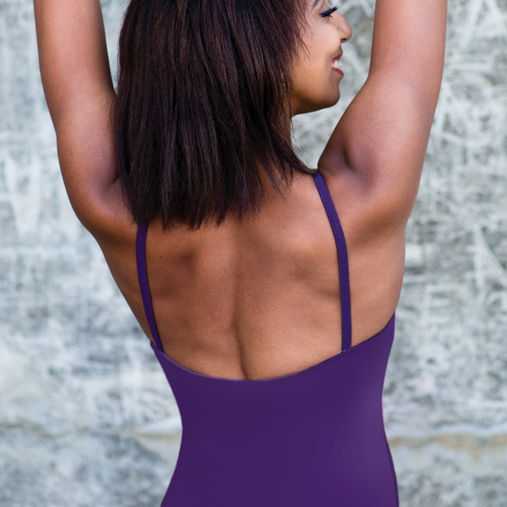 dancers back showing purple camisole leotard