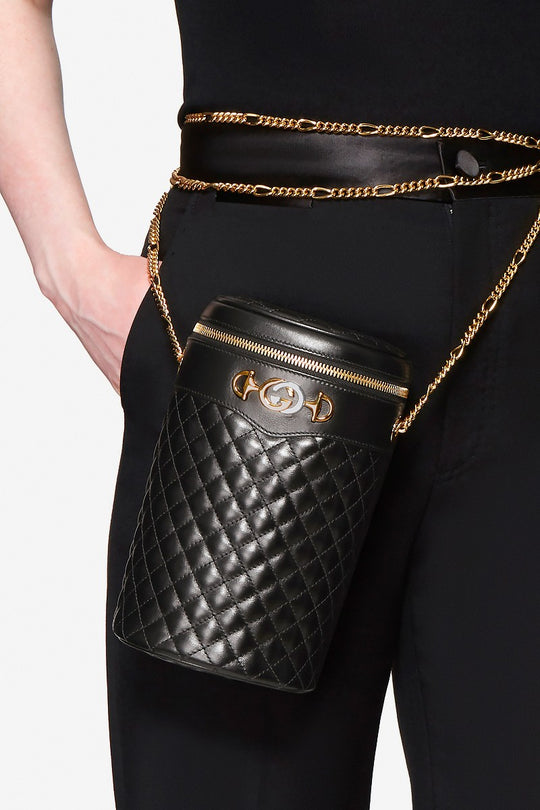GUCCI'S LATEST BELT BAG IS QUILTED IN DELICATE BLACK LEATHER