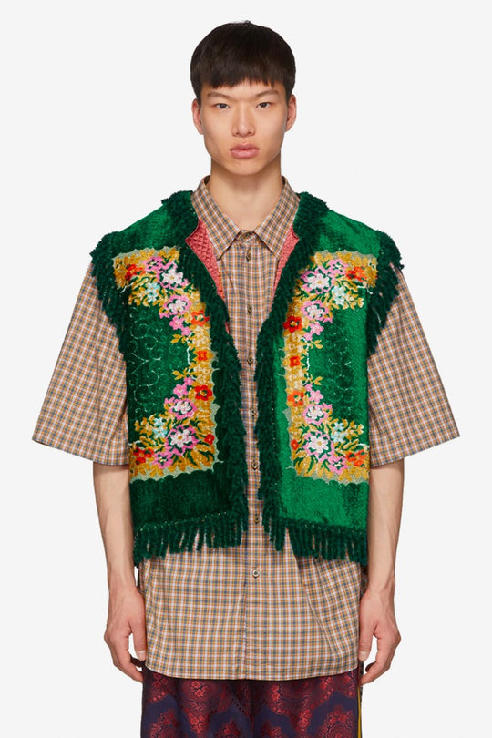 GUCCI'S GREEN FLORAL VELVET JACQUARD VEST IS STRAIGHT OUT OF THE VICTORIAN-ERA
